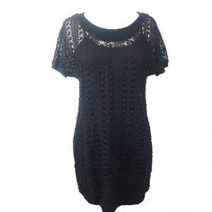 NWT Monoreno Black Crochet Boho Shirt Dress M & L